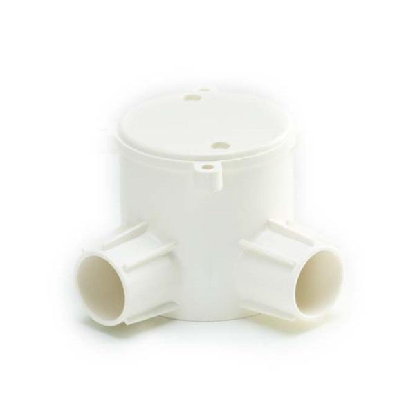 ข้อต่อกล่องพักสายกลมลึก 2 ทางมุม พีวีซี เอสซีจี ระบบร้อยสายไฟ สีขาว (มาตรฐาน BS)