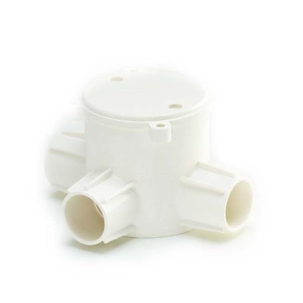 ข้อต่อกล่องพักสายกลมลึก 3 ทางที พีวีซี เอสซีจี ระบบร้อยสายไฟ สีขาว (มาตรฐาน BS)