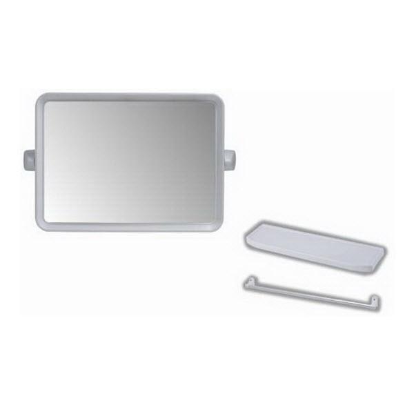 กระจกกรอบพลาสติก สีขาว ทรงเหลี่ยม พร้อมเครื่องอุปกรณ์ครึ่งชุด PM901