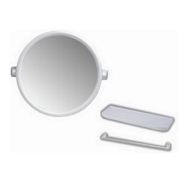 กระจกกรอบพลาสติก สีขาว ทรงกลม พร้อมเครื่องอุปกรณ์ครึ่งชุด PM902