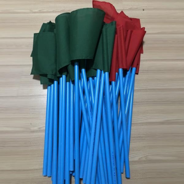 ธงโบกคู่เขียวแดง 50x100ซม. พร้อมด้าม150ซม.