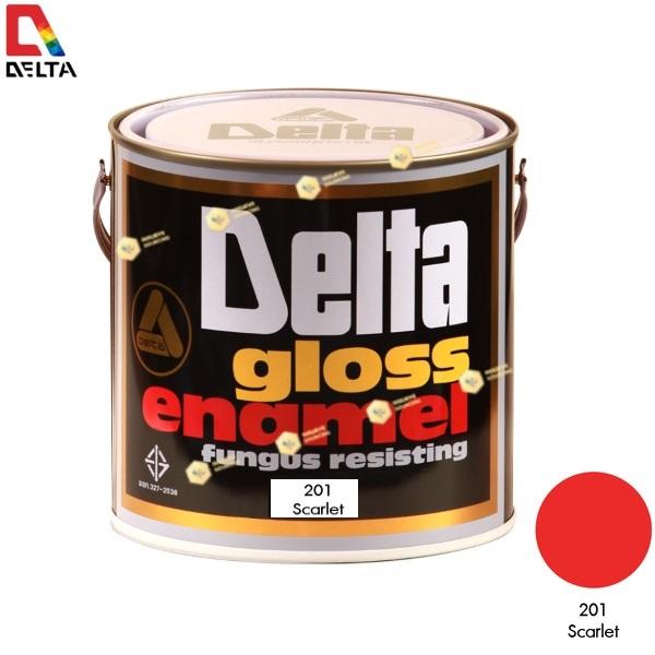 สีเคลือบน้ำมัน DELAT GLOSS ENAMEL #201 Scarlet-1GL.