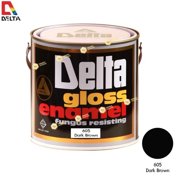 สีเคลือบน้ำมัน DELAT GLOSS ENAMEL #605 Dark Brown-1GL.