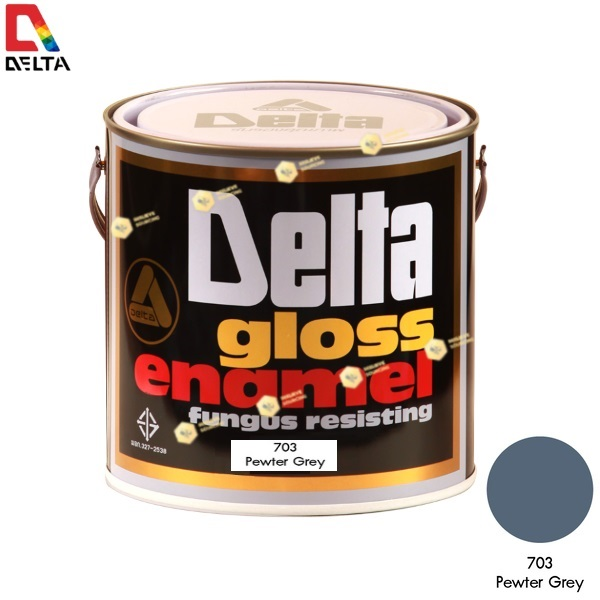 สีเคลือบน้ำมัน DELAT GLOSS ENAMEL #703 Pewter Grey-1GL.