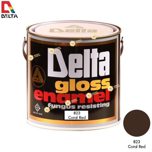 สีเคลือบน้ำมัน DELAT GLOSS ENAMEL #823 Coral Red-1GL.