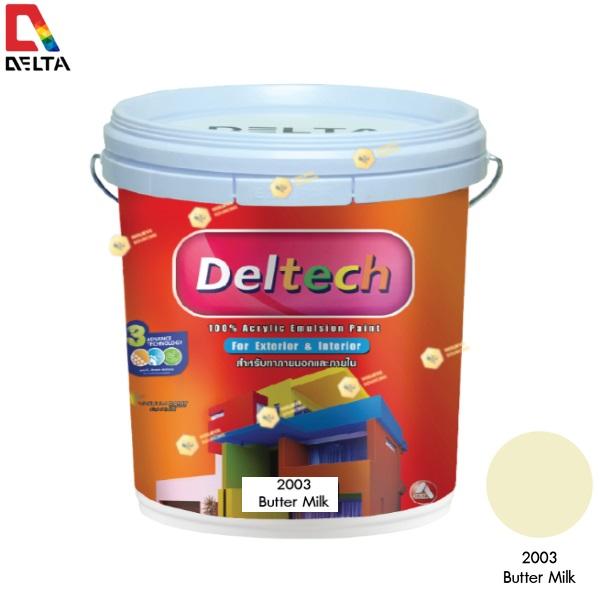 DELTECH สีน้ำอะครีลิคแท้ภายนอก เดลเทค #2003 Butter Milk-5GL.