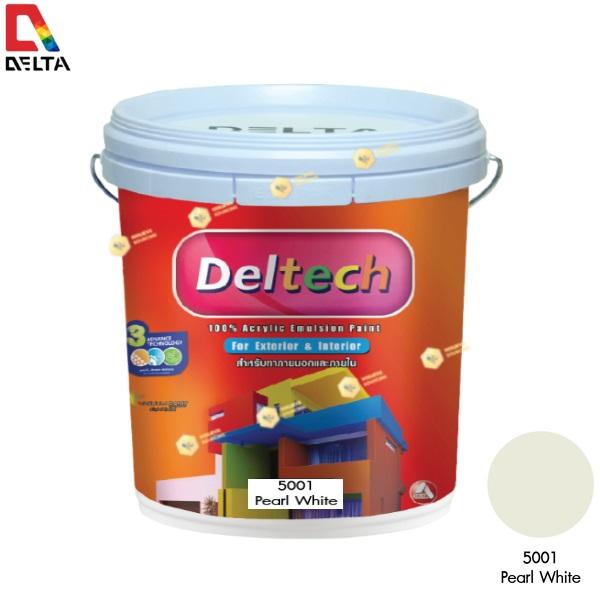 DELTECH สีน้ำอะครีลิคแท้ภายนอก เดลเทค #5001 Pearl White-5GL.