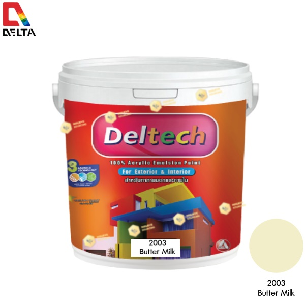 DELTECH สีน้ำอะครีลิคแท้ภายนอก เดลเทค #2003 Butter Milk-1GL.