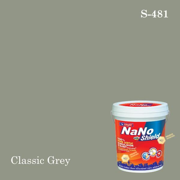 นาโนโปร ชิลด์สีน้ำอะคริลิก ชนิดเนียน S-481 (Classic Grey)