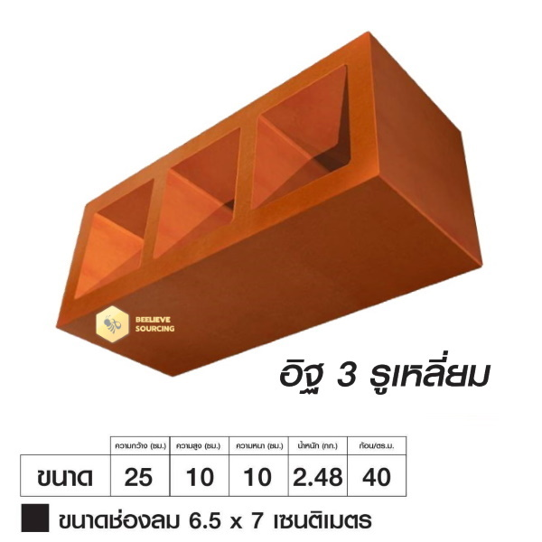 อิฐเซรามิก 2in1 อิฐช่องลม 3รูเหลี่ยม ซีบริค