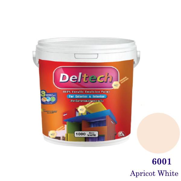Deltech สีน้ำอะครีลิคภายนอก 6001 Apricot White-1gl.