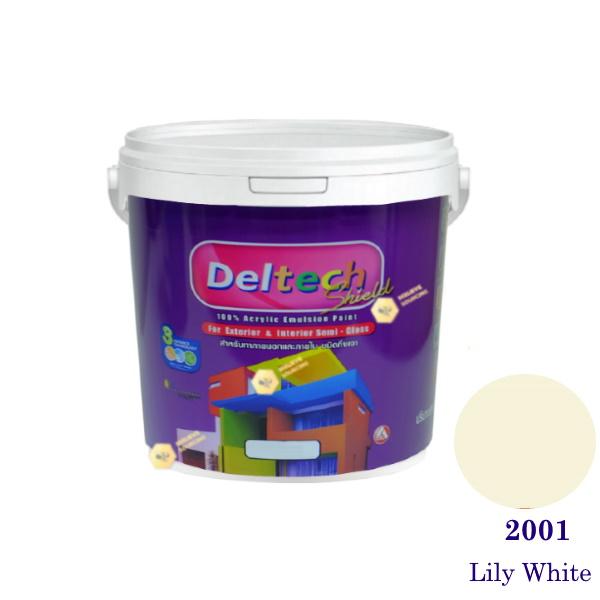 Deltech สีน้ำอะครีลิคกึ่งเงา SG-2001 Lily White-1gl.