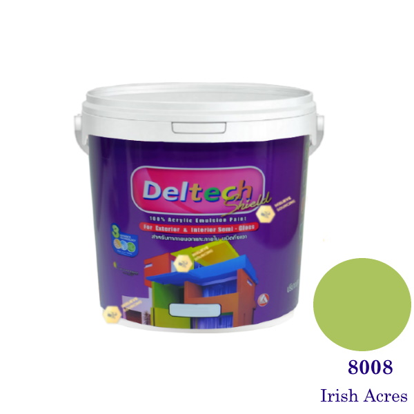Deltech สีน้ำอะครีลิคกึ่งเงา SG-8008 Irish Acres-3.6 L (สีเข้ม)