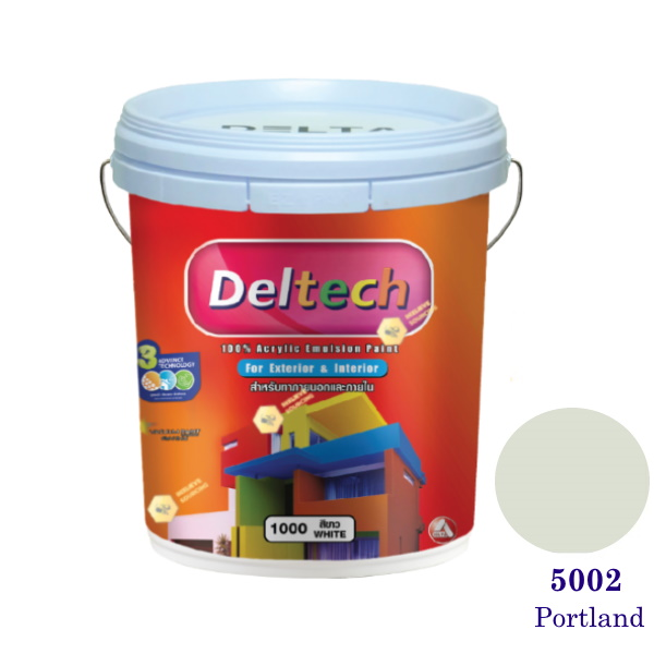Deltech สีน้ำอะครีลิคภายนอก 5002 Portland-5 gl