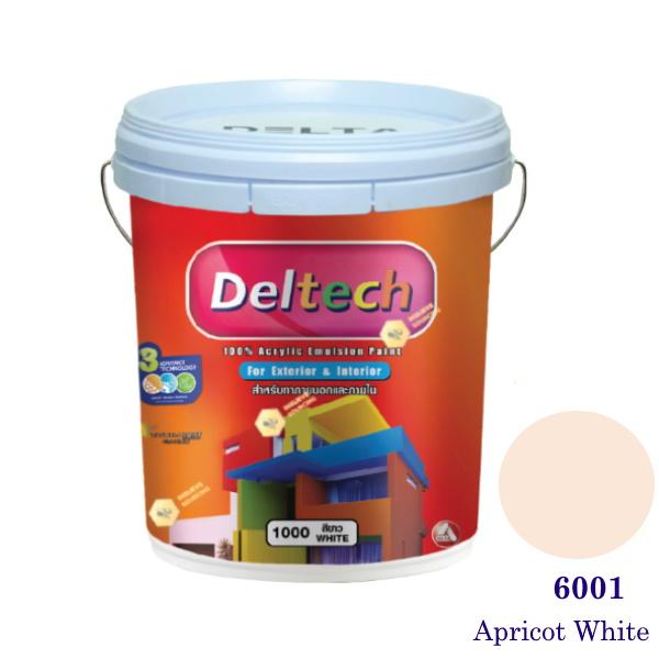 Deltech สีน้ำอะครีลิคภายนอก 6001 Apricot White-5gl.