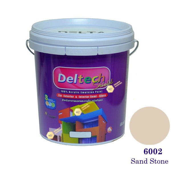Deltech สีน้ำอะครีลิคกึ่งเงา SG-6002 Sand Stone-5gl.