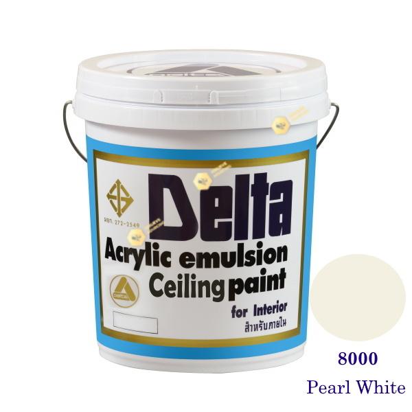 เดลต้า ซีลลิ่งเพนท์ สีน้ำอะครีลิคทาฝ้า 8000 Pearl White 5gl.