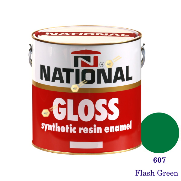 NATIONAL GLOSS สีเคลือบน้ำมัน 607 Flash Green-1gl