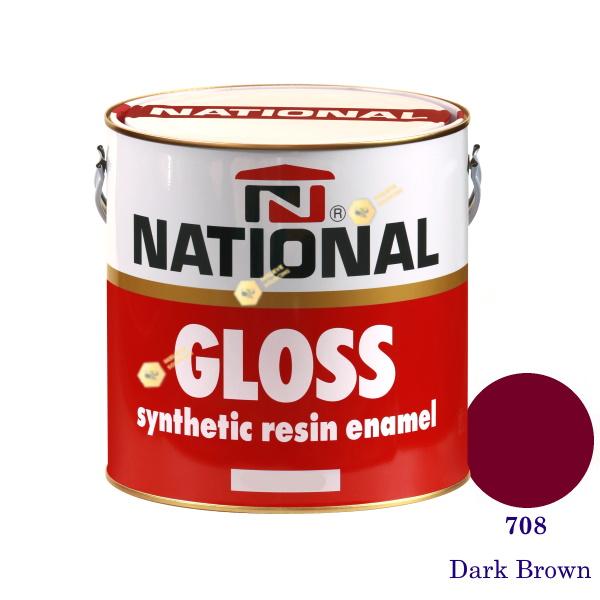 NATIONAL GLOSS สีเคลือบน้ำมัน 708 Dark Brown-1gl