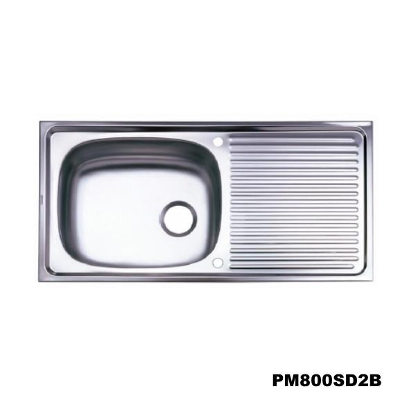 อ่างซิงค์1หลุมมีที่พักจาน สะดือB (เจาะ2รูก๊อก) PM800SD2B