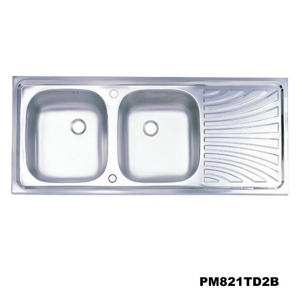 อ่างซิงค์2 หลุมมีที่พักจาน สะดือB (เจาะ2รูก๊อก) PM821TD2B