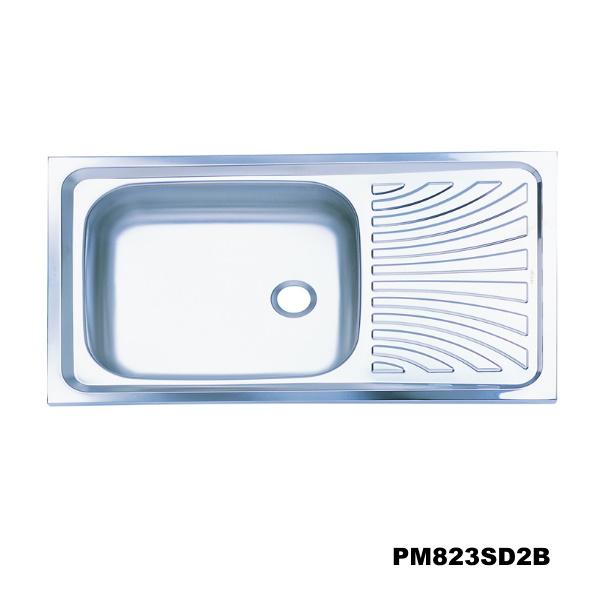อ่างซิงค์1 หลุมมีที่พักจาน สะดือB (เจาะ2รูก๊อก) PM823SD2B