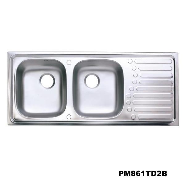 อ่างซิงค์2 หลุมมีที่พักจาน สะดือB (เจาะ2รูก๊อก) PM861TD2B